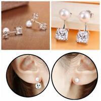 square des bijoux crystal strass boucles d'oreilles argenté oreille étalon