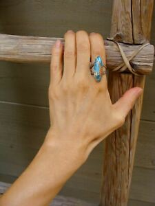 Spiny Oyster Turquoise Silver Ring Size 7.5 Navajo