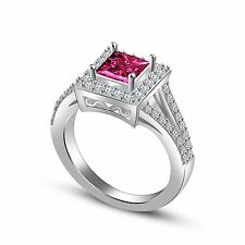 Princess Cut Pink Sapphire Engagement Wedding Ring in 14K White Gold Plated