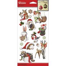 Christmas Holiday Animals Raccoon Bunny Owl Squirrel Fox Jolee's 3D Stickers