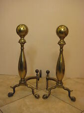 "Pair Of Large Vintage Brass Fireplace Andirons, 24"" Tall, Made in USA, 31 lbs"