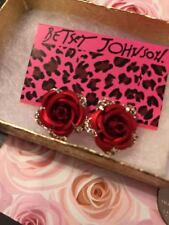 Betsey Johnson Red Rose Earrings Crystals Adorable Gift Box & Bag