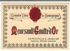 """Etiquette de Vin - Bourgogne - Meursault """"Goutte D'Or - E.Jacquier - Réf.n°53"""