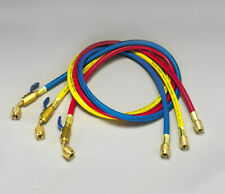 """Yellow Jacket 29985 PLUS II 60"""" Charging Hose (RYB) 3-Pack w/ Ball Valve End"""