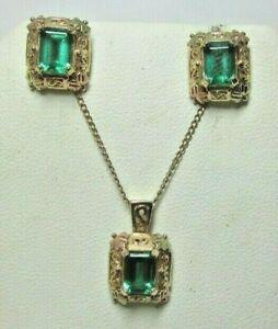 C Co Coleman Co Black Hills Gold 10K Emerald Cut Lab Created Emerald 2 pc Set