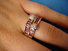 STUNNING DESIGN 14K GOLD RUBIES & DIAMONDS BAND RING 7.1 GRAMS SIZE 7.5