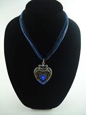 "Antique Brass Blue Ribbon Beautiful Blue Heart Necklace Pendant 16"""