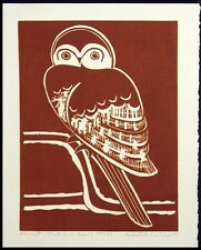 "Lester Hines ""Owl In A Tree"" Signed Original Linocut Artwork Art, Make an Offer!"