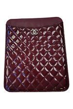 *CHANEL* QUILTED MAROON PATENT LEATHER IPAD COVER