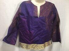 Renaissance Medieval Cosplay women M Shirt Purple Gold Trim Iridescent Blue