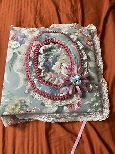 Vintage Blue Lace Cloth Photo Album Floral Padded Handmade Scrapbook Wedding