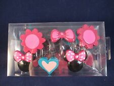 Minnie Mouse Shower Curtain Hooks Pink Bow Flower Heart Head Brand New Set 12