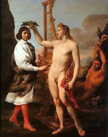 Oil painting Andrea Sacchi - marcantonio pasquilini crowned by apollo nude man