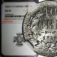 SWEDEN Oscar I Silver 1859/7 ST 10 Ore OVERDATE NGC AU53 TOP GRADED KM# 683