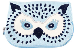 NEW Cath Kidston Magical Blue Owl Zip Purse *Cotton Embroidered/With Tags*