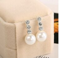 Women's 3pcs Crystal Infinity Simulated Pearl Mini Earrings Set Jewellery Gift