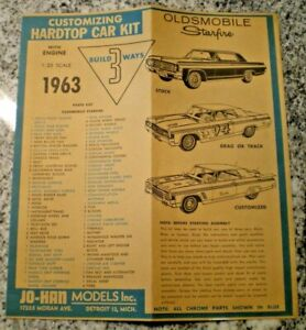 "JO-HAN ""1963 Oldmobile Starfire"" Original Model Car Instruction sheet"