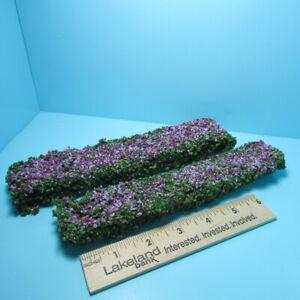 Dollhouse Miniature Outdoor Long Border Hedges Burgundy Mauve Set of 2 CAHG-14