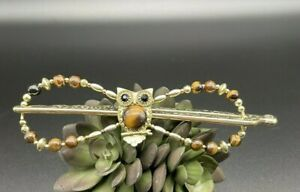 Lilla Rose Flexi 8 Hair Clip XL Owl, Gold and brown  Extra Large Long thick hair