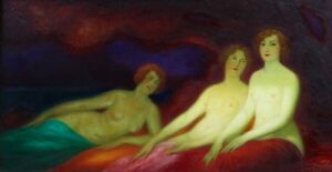 Symbolist large original oil painting by Felix Courche