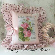 Klein Pink Rose Pillow~Vintage Hanky~Buttons~Silver Locket~Rachel Ashwell Fabric