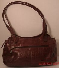 Maxx New York Large Red Croco-Leather Satchel Hobo Tote Purse Shoulder Bag