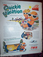 TWA Trans World Airlines Quickie Vacation Vintage Ad 1950 Holiday