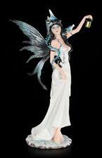 blancas Elfos Figura con linterna y gragón - Hada Fantasy Estatua fairy