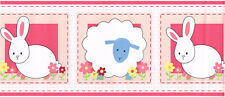 Bunny Blue Sheep Floral Flower Pink Gingham Stitch Kid Nursery Wallpaper Border