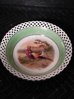Schumann Bavaria Germany Pheasant Bowl Dish with Lattice Edge