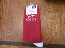 """NWT GAP womens trouser socks red; heel, toe and """"oh deer"""" in white one size fits"""