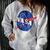 Da donna Lungo Manica equipaggio Collo Maglione Felpa NASA Baseball T-shirt Tops