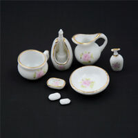 8Pcs 1/12 Miniature Dollhouse Bathroom Accessories Set Floral Ceramic V!