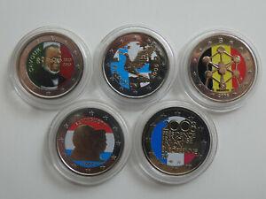 Europa 5 x 2 Euro 2005-2010 Farbgeld Lot 5 Münzen (8