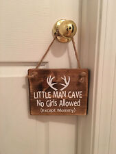 Little Man Cave Antler Wooden Woodsy Nursery Boy's Room Door Sign
