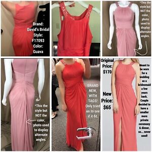 Guava Orange Ruched Davids Bridal Bridesemaid Dress Gown Formal Prom Beaded NWT