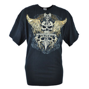 Skull Birds Cross Swords Gold Foil Gothic Graphic Mens Adult Tshirt Tee