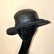 Chapeau CAPELINE VINTAGE en paille tréssée noir et tulle - RETRO 1920/30 - T.52