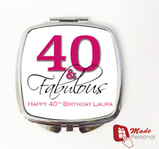 PERSONALISED 40th Birthday Gift compact mirror- 40 & Fabulous