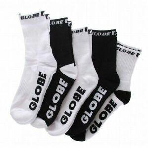 Globe Socks 5 Pack Quarter Black White Crew Size 2-8 Skateboard Sox