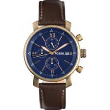 Fossil Men's Rhett Chronograph Bronze Tone Chocolate Leather Watch 42mm BQ2099