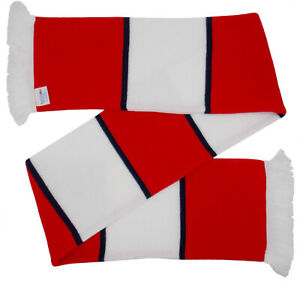 Arsenal Supporters Red and White Bar Scarf with Navy Blue Stripes -  Made in UK