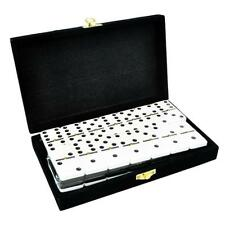 Domino Double Six 6 Two Tone Black White Tournament Pro Size Spinner Velvet Box