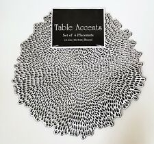 NEW-SET OF 4 TABLE ACCENTS 100% VINYL METALLIC SILVER+BLACK PLACEMATS  15.5""