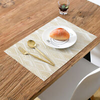4Pcs Rectangular Vinyl Placemats Waterproof Kitchen Dining Table Place Mats Gold