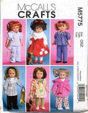 "MCCALL'S SEWING PATTERN 5775 18"" DOLL CLOTHES: DRESS TOP ROBE COAT PANTS TOY DOG"
