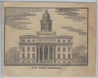 1830s Architectural Woodcut - New York Exchange Building -City Architecture