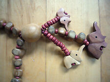 Perlenkette aus Holz mit 3 Elefanten Anhänger Brauntöne Hippie*Ibizza*Eyecatcher