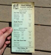 Island Holidays Resort Hotels 1962 Rate Schedule Hawaii