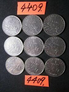 9 x franc  coins  FRANCE  '70's era     54  gms      Mar4409